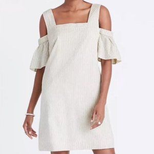 Madewell striped cold shoulder dress cotton